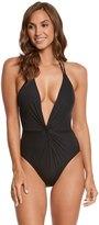 Kenneth Cole Sexy Solids Twist Plunge Halter One Piece Swimsuit 8158466