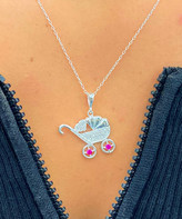 Swarovski Sevil 925 Women's Necklaces - Sterling Silver Baby Carriage Pendant Necklace With Crystals