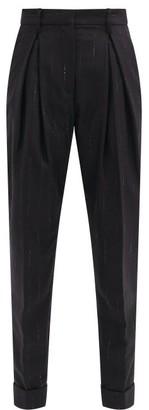 Ann Demeulemeester Lame-striped Virgin-wool Blend Tailored Trousers - Black Stripe