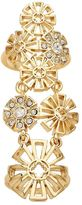 Marie Claire Jewelry Crystal Gold Tone Openwork Flower Full Finger Ring