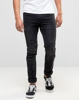 Blend of America Cirrus Skinny Biker Jeans in Washed Black