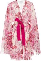 Giambattista Valli Bow-Detailed Printed Silk Mini Dress