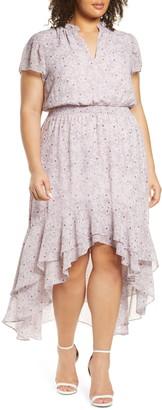 1 STATE Wildflower Bouquet Ruffle High/Low Dress