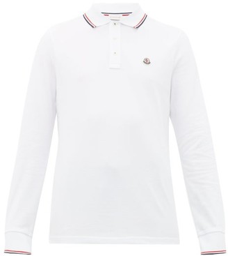 Moncler Logo-applique Long-sleeve Cotton Polo Shirt - Mens - White
