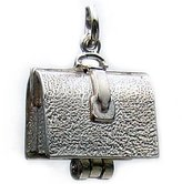 Welded Bliss Sterling 925 Silver Briefcase Charm Opening To Show Lunch WBC1050