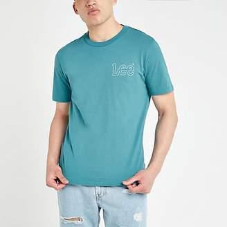 River Island Lee blue logo print T-shirt