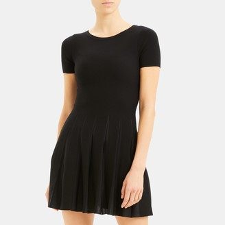 Theory Pleated Tee Dress in Viscose Elite