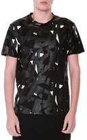 Alexander McQueen Rubberized Pattern Short-Sleeve T-Shirt, Black/White