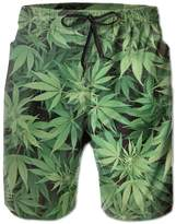 YUQPR Real Marijuana Weed Leaf Hunting Fashion Cute Designer Swimming Trunks Short