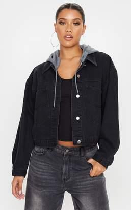 PrettyLittleThing Mid Wash Hooded Oversized Denim Jacket