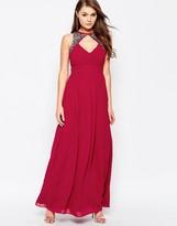 Little Mistress Split Maxi Dress With Embellished Detail