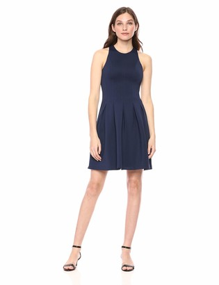 Lark & Ro Amazon Brand Women's Sleeveless Crew Neck Pleated Fit and Flare Scuba Knit Dress