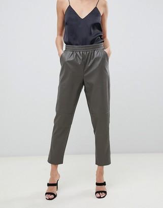 Asos elastic waist PU pants-Green
