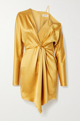 Cushnie Crepe-trimmed Draped Silk-charmeuse Mini Dress - Mustard
