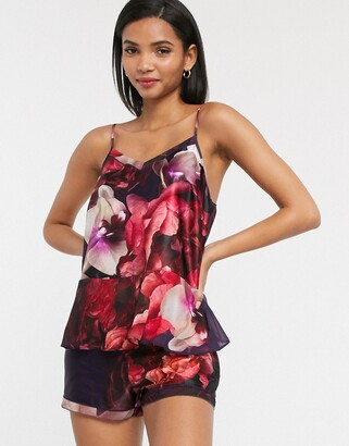 Ted Baker Splendour peplum cami floral pyjama top in purple