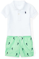 Ralph Lauren Short-Sleeve Mesh Polo w/ Gingham Seahorse Shorts, White, Size 6-24 Months