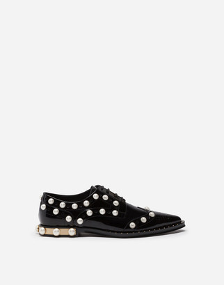 Dolce & Gabbana Polished Calfskin Derby With Pearl Embroidery