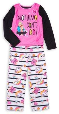 AME Sleepwear Little Girl's & Girl's 2-Piece Graphic Pajama Top & Pants Set