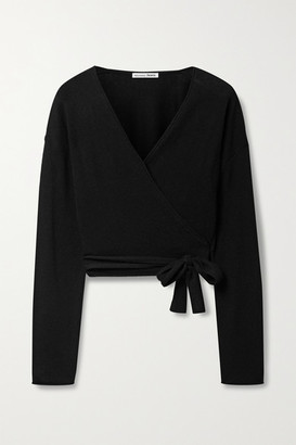 Reformation Net Sustain Cropped Cashmere Wrap Top - Black