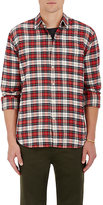 Barneys New York Men's Plaid Cotton Flannel Shirt-RED, IVORY, BLUE