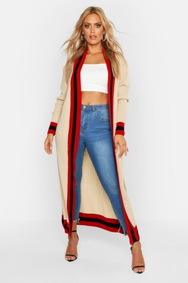 boohoo Plus Stripe Maxi Length Cardigan