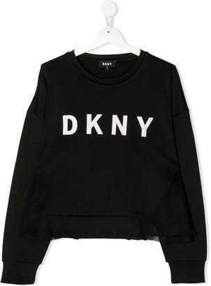 DKNY Logo-Print Tulle Sweatshirt
