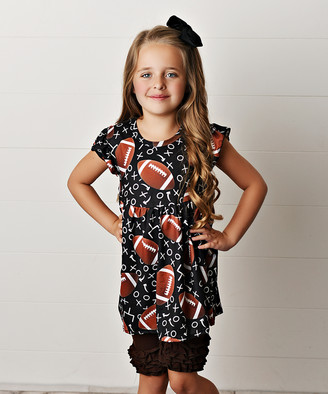 Adorable Sweetness Girls' Casual Shorts Brown/Black - Black & Brown Football Angel-Sleeve Dress & Ruffle Pants - Toddler & Girls
