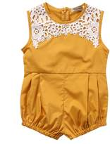honeys Cute Newborn Baby Girls Short Sleeve Lace Printing Zipper Romper Bodysuit (0-6months, )