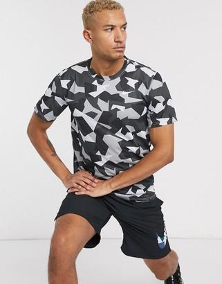 Nike Training t-shirt in geometric camo print-Black