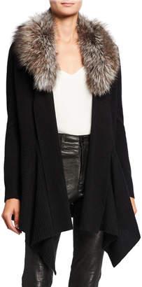 Neiman Marcus Cashmere Cascade Cardigan w/ Detachable Fox Fur Collar
