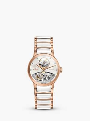 Rado R30248902 Women's Centrix Automatic Skeleton Diamond Bi-Material Bracelet Strap Watch, Rose Gold/White