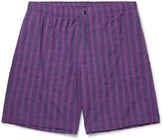 Adsum - Bank Checked Cotton Shorts - Men - Purple