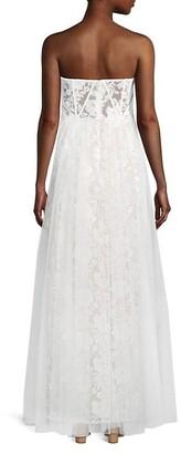 Aidan Mattox Strapless Embroidered Mesh Gown