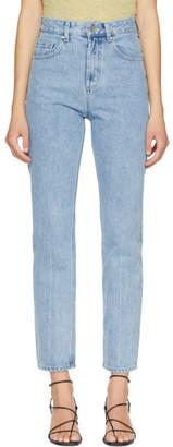 AMOMENTO Blue High-Waist Regular Jeans