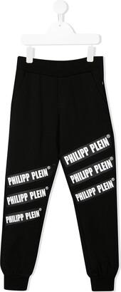 Philipp Plein Junior contrast logo track pants