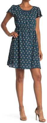 WEST KEI Printed Fitted Waist Dress