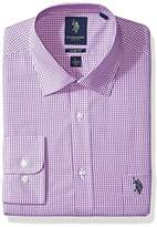U.S. Polo Assn. Men's Slim Fit Check Semi Spread Collar Dress Shirt