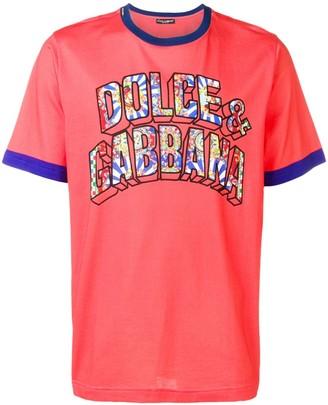 Dolce & Gabbana paisley 3D font logo T-shirt