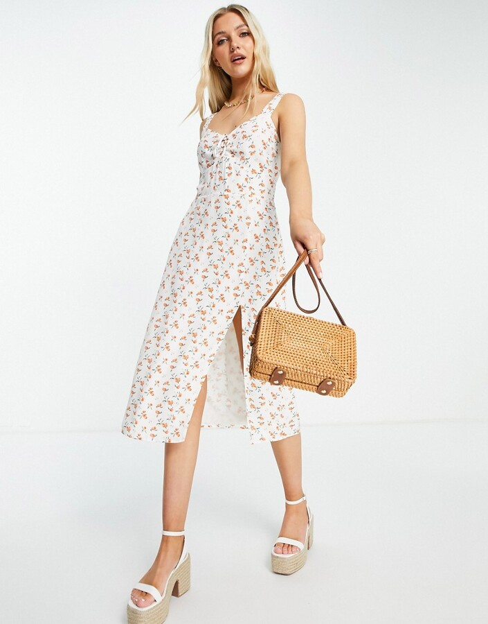 Abercrombie & Fitch side split maxi dress in peach print