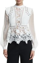 Self-Portrait Self Portrait Floral-Lace Long-Sleeve Top, Cream