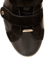 Jimmy Choo Yuko black leather and suede low-top sneaker