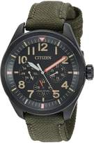 Citizen Men's 'Military' Quartz Stainless Steel and Nylon Casual Watch, Color: (Model: BU2055-16E)