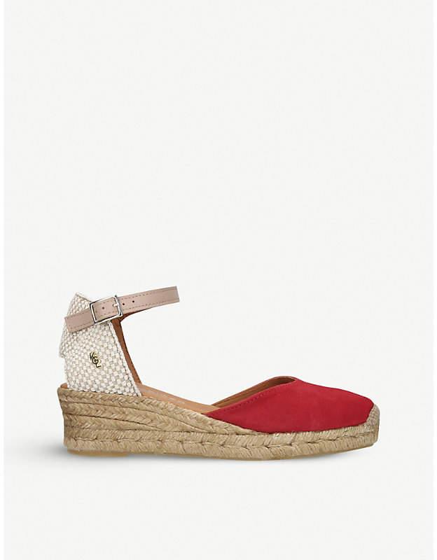 5acef254afe London Minty suede and raffia espadrille wedge sandals