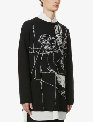 Yohji Yamamoto Asakura graphic-pattern wool jumper