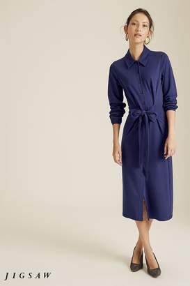 Jigsaw Womens Blue Tie Front Jersey Shirt Dress - Blue
