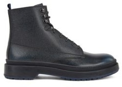 HUGO BOSS Lace Up Boots In Scotch Grain Leather With Contrast Lug Sole - Brown