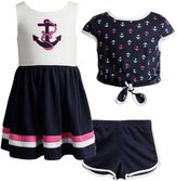 Youngland Girls 4-6x Anchor Sleveless Dress, Popover Top & Shorts Set