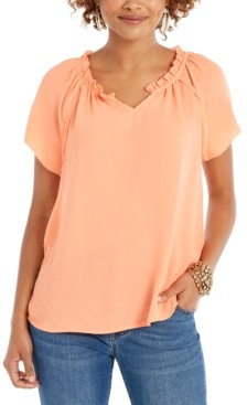 Style&Co. Style & Co Petite Ruffled-Trim Flutter-Sleeve Top, Created for Macy's