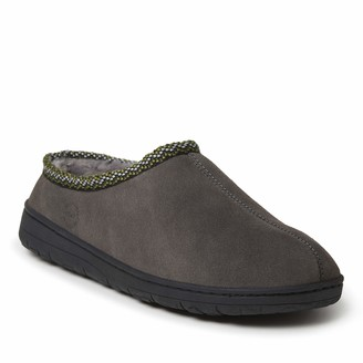 Dearfoams Genuine Suede Clog with Woven Accent