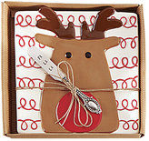 Mud Pie Holiday Reindeer Cheese Plate with Spreader